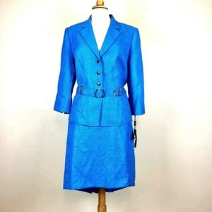 Tahari Skirt Suit Set 16 Blue ANN Peplum NEW
